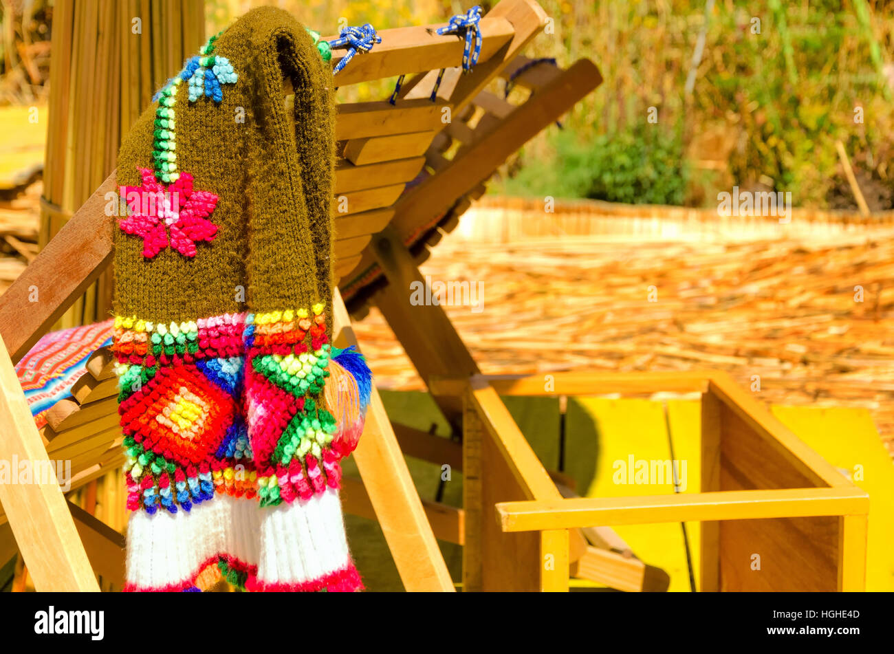 Handmade scarf in the Uros Floating Island on Lake Titicaca in Peru - Stock Image