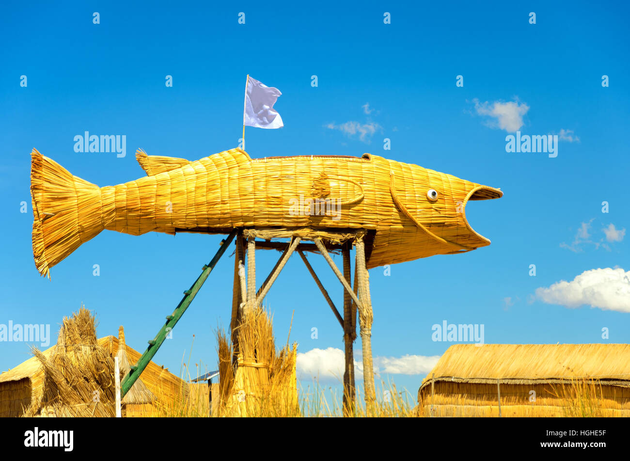Fish made from reeds in the Uros Floating Islands on Lake Titicaca in Peru - Stock Image