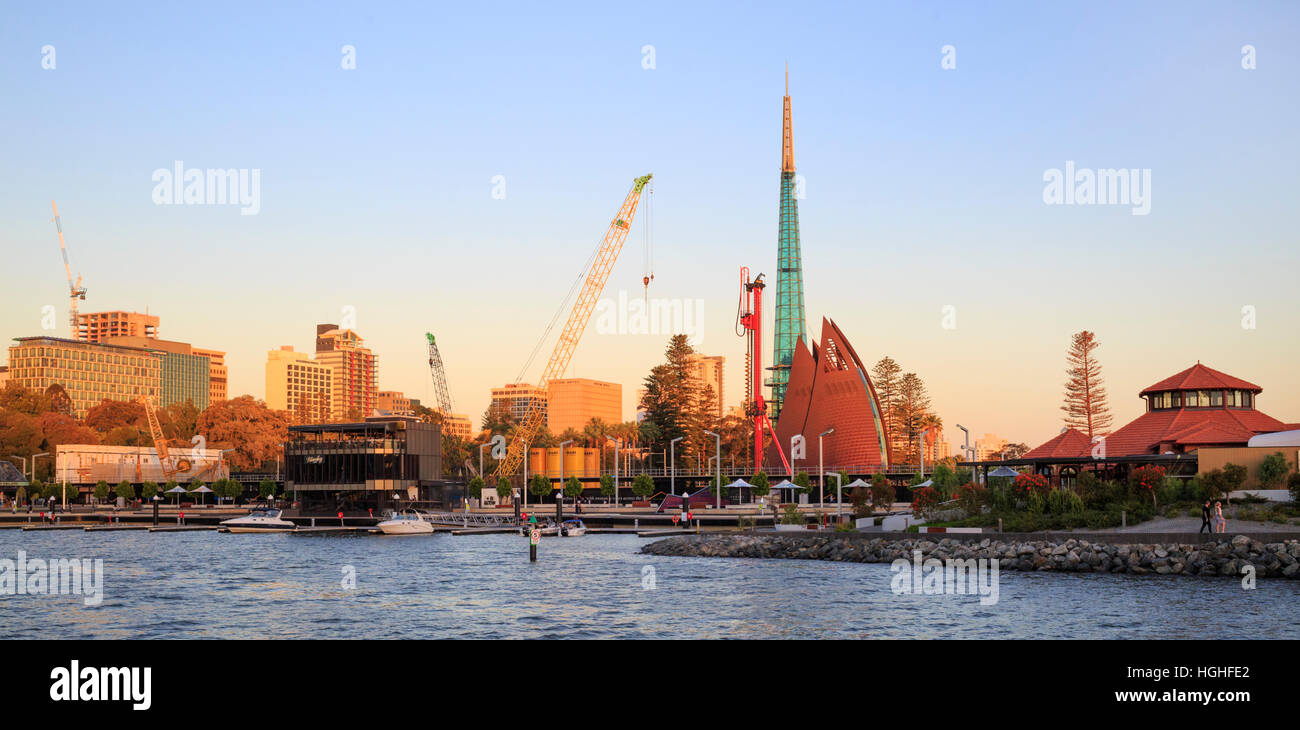 Construction work at the Elizabeth Quay redevelopment. - Stock Image