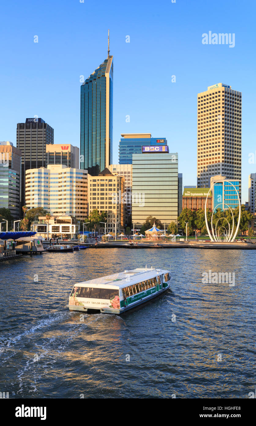 TransPerth ferry entering Elizabeth Quay. Perth, Western Australia - Stock Image