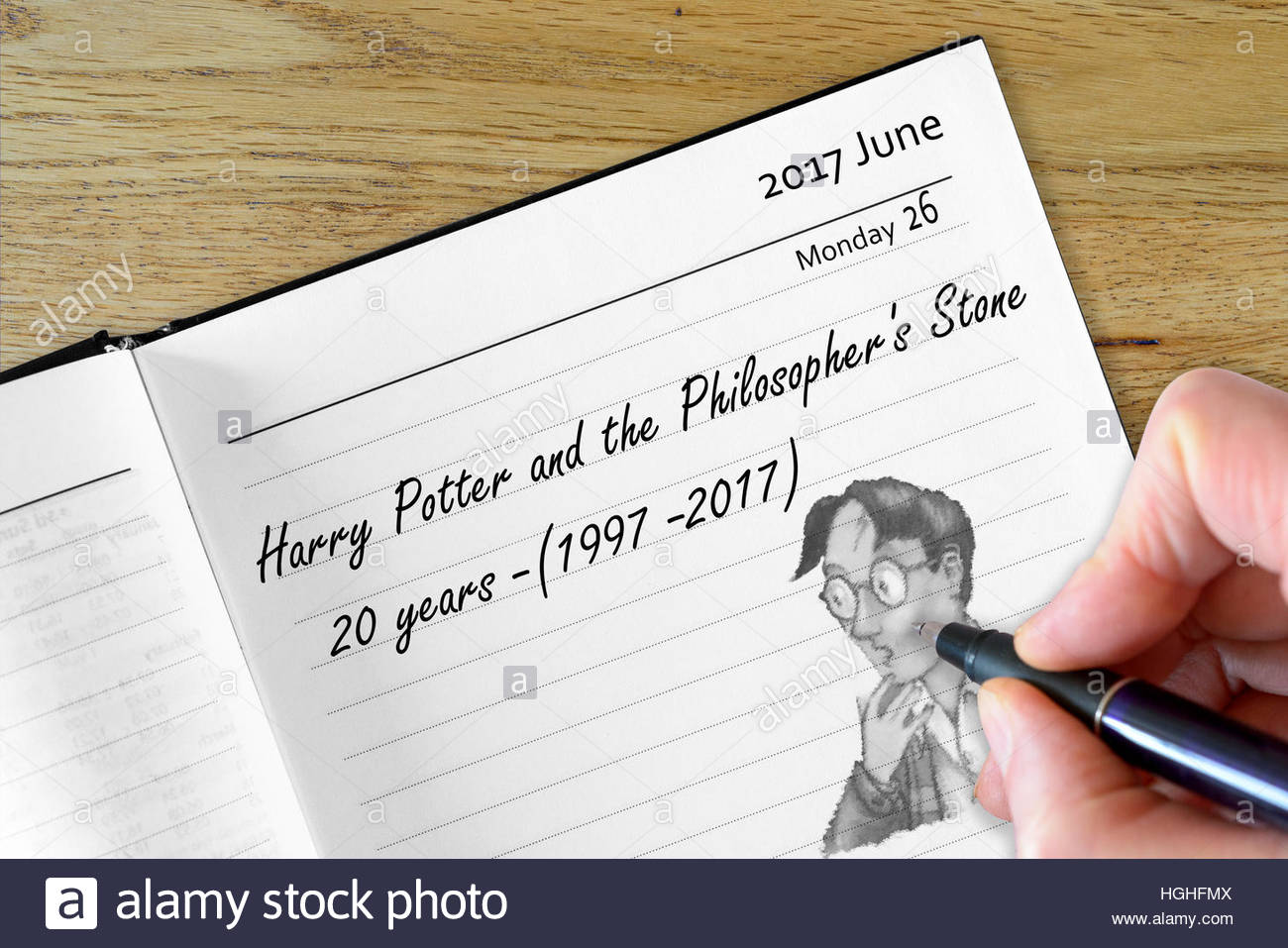 Harry Potter 20 year anniversary recorded on a diary page - Stock Image