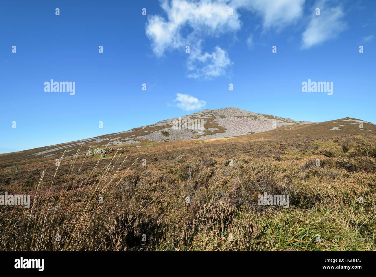 Yr Eifl (The Rivals) viewed from the Llyn coastal path on the Lleyn Peninsula North Wales UK - Stock Image