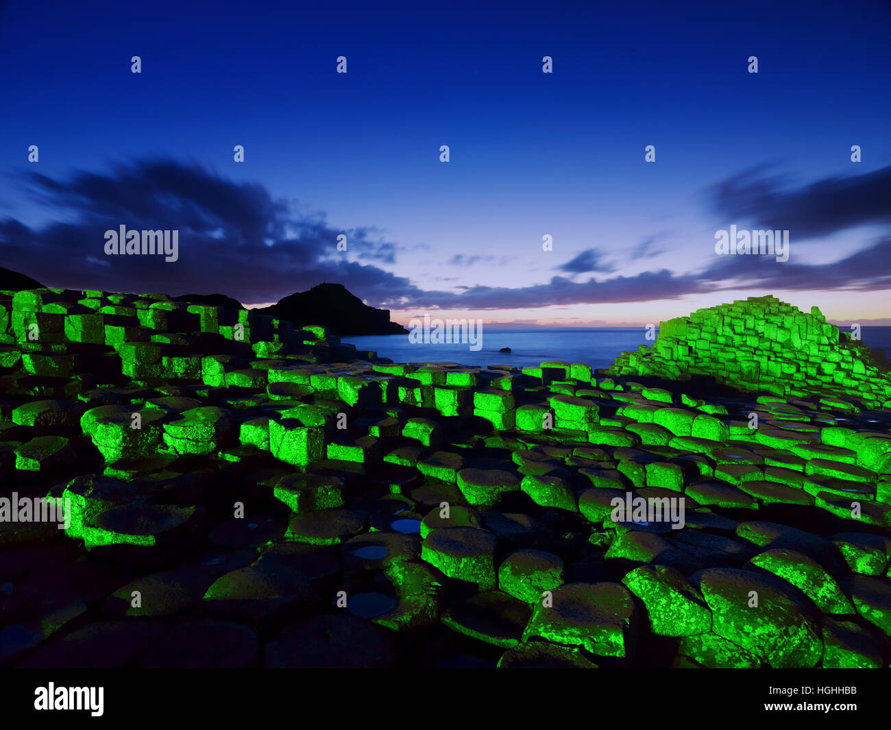 St. Patrick's day at the Giant's Causeway - Stock Image