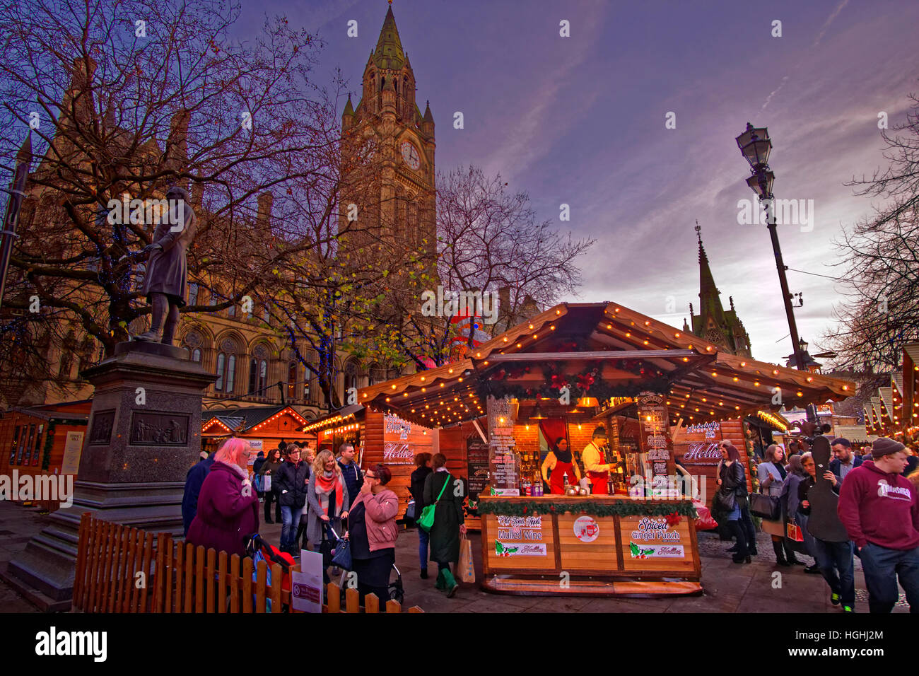 Manchester Christmas Market and Town Hall at Albert Square, Manchester Town Centre, Greater Manchester. England, - Stock Image