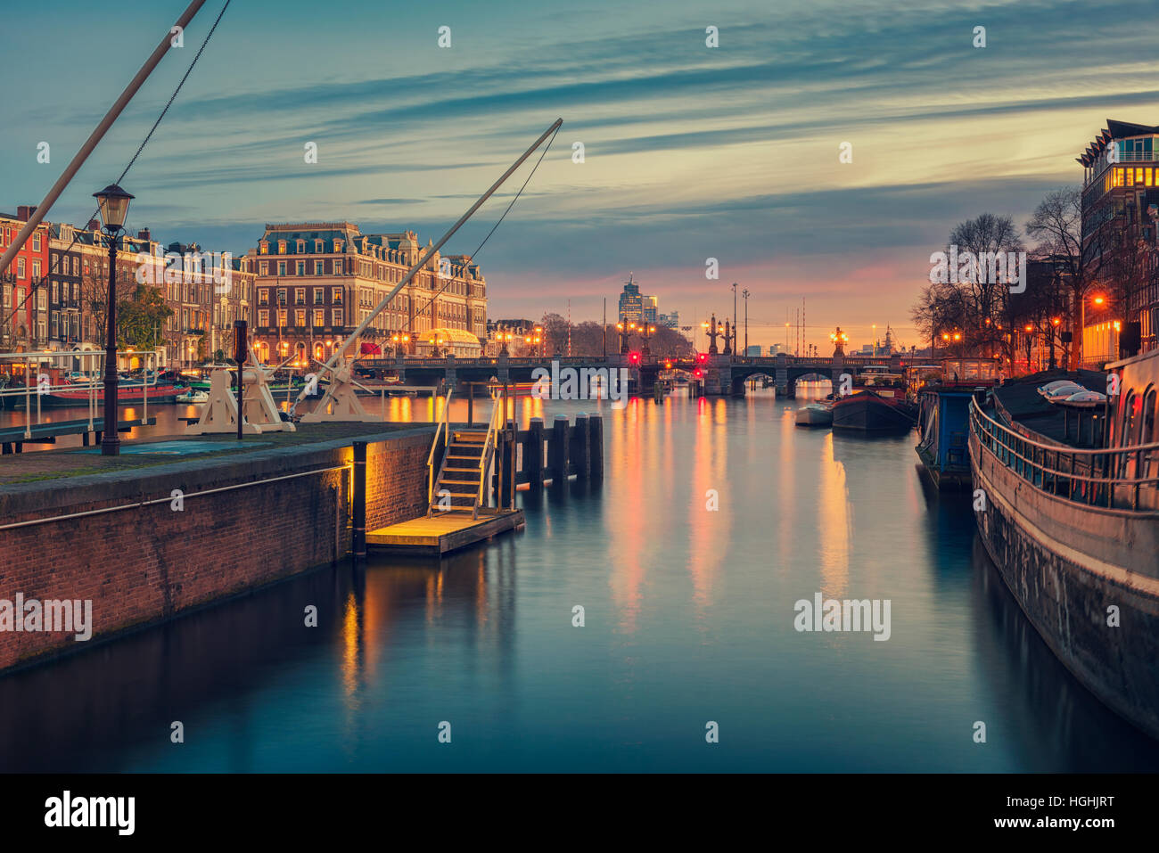 Amstel River and surroundings in Amsterdam Netherlands Stock Photo