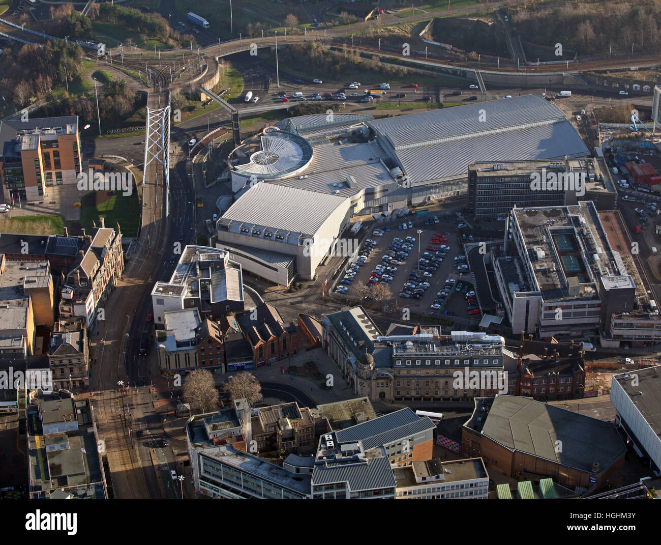 aerial view of Ponds Forge International Sports Centre & swimming pool, Sheffield, UK - Stock Image
