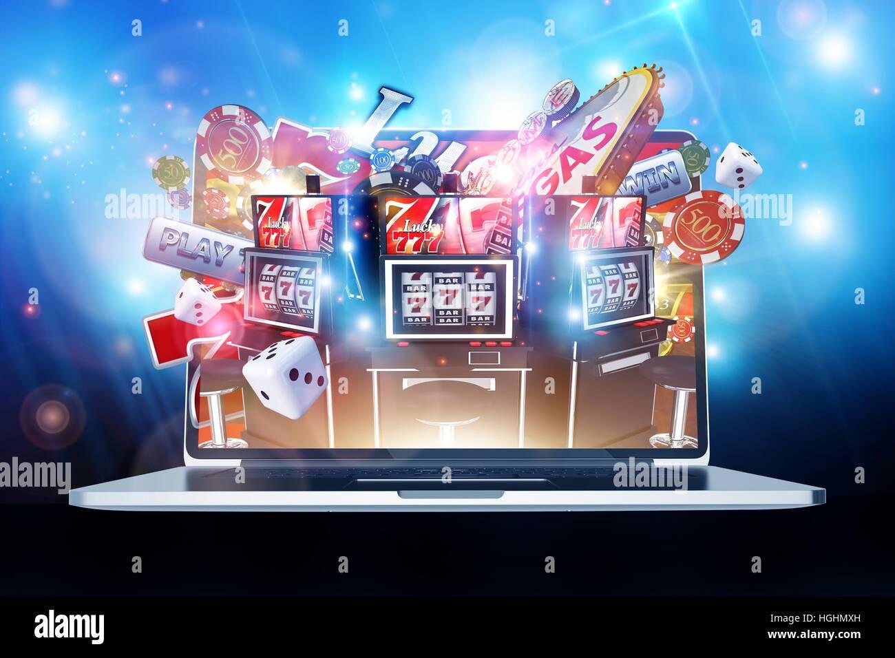 Online casino gambling concept 3d render illustration las for 3d rendering online