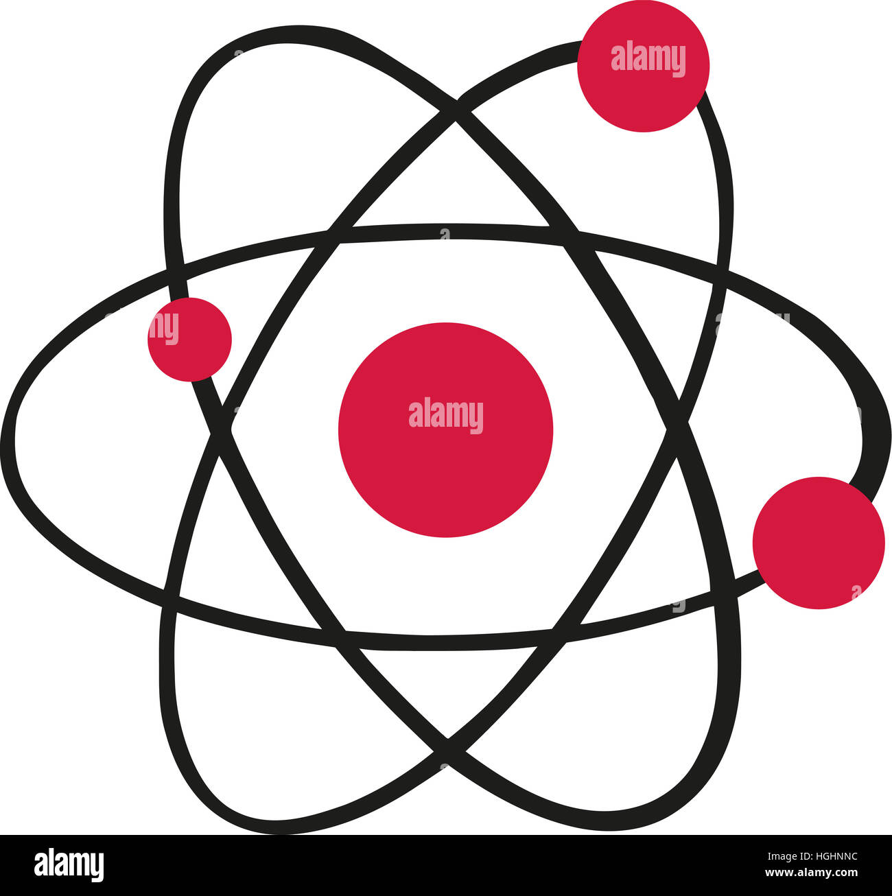 Atom icon with red atoms - Stock Image