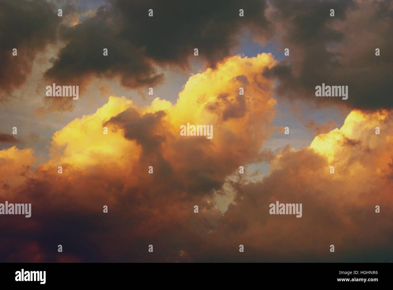beautiful fluffy clouds Stock Photo