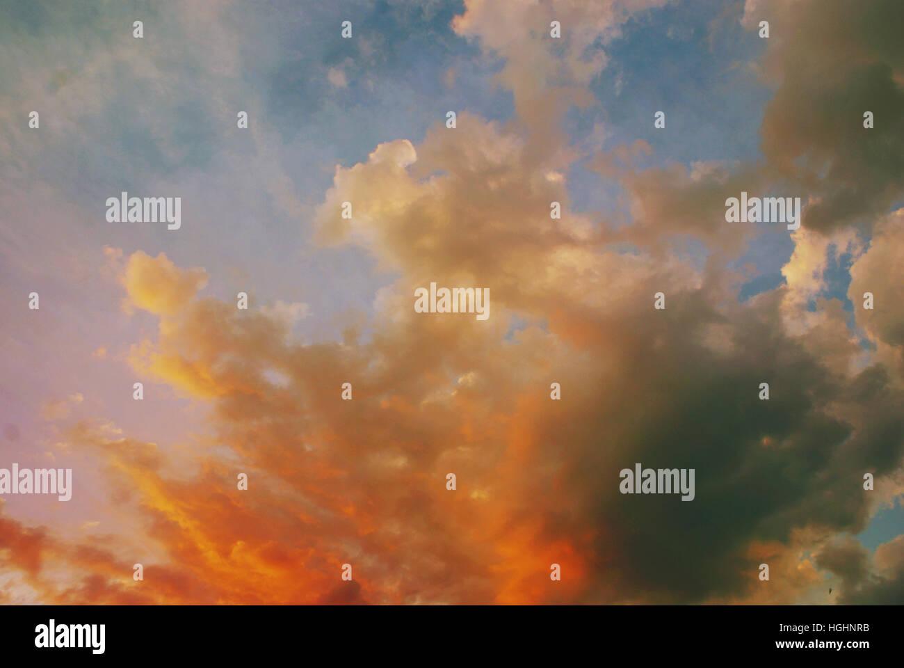 beautiful fluffy clouds - Stock Image
