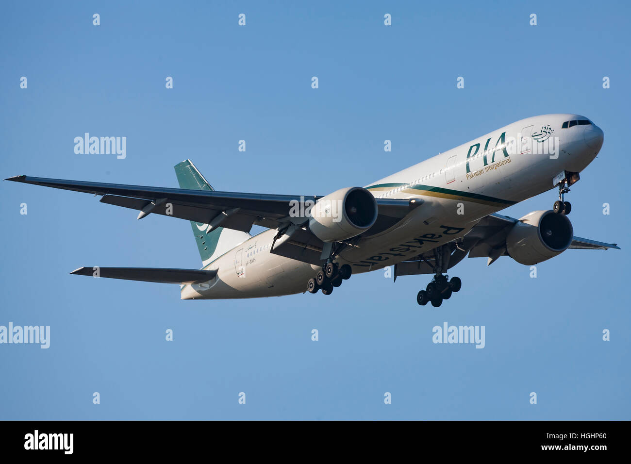 Pakistan International Airline landing in Copenhagen - Stock Image