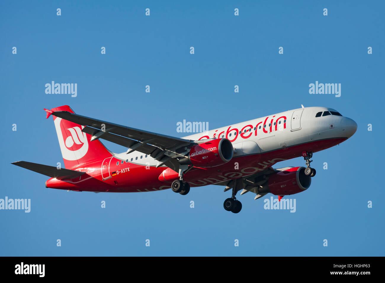 AirBerlin Airliner landing in Copenhagen - Stock Image