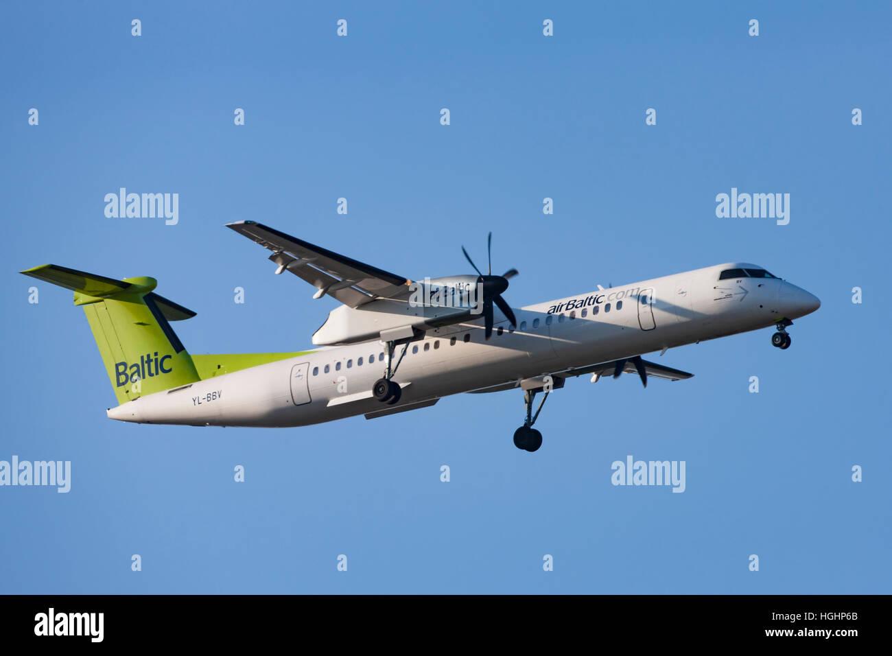 AirBaltic Airliner landing in Copenhagen - Stock Image