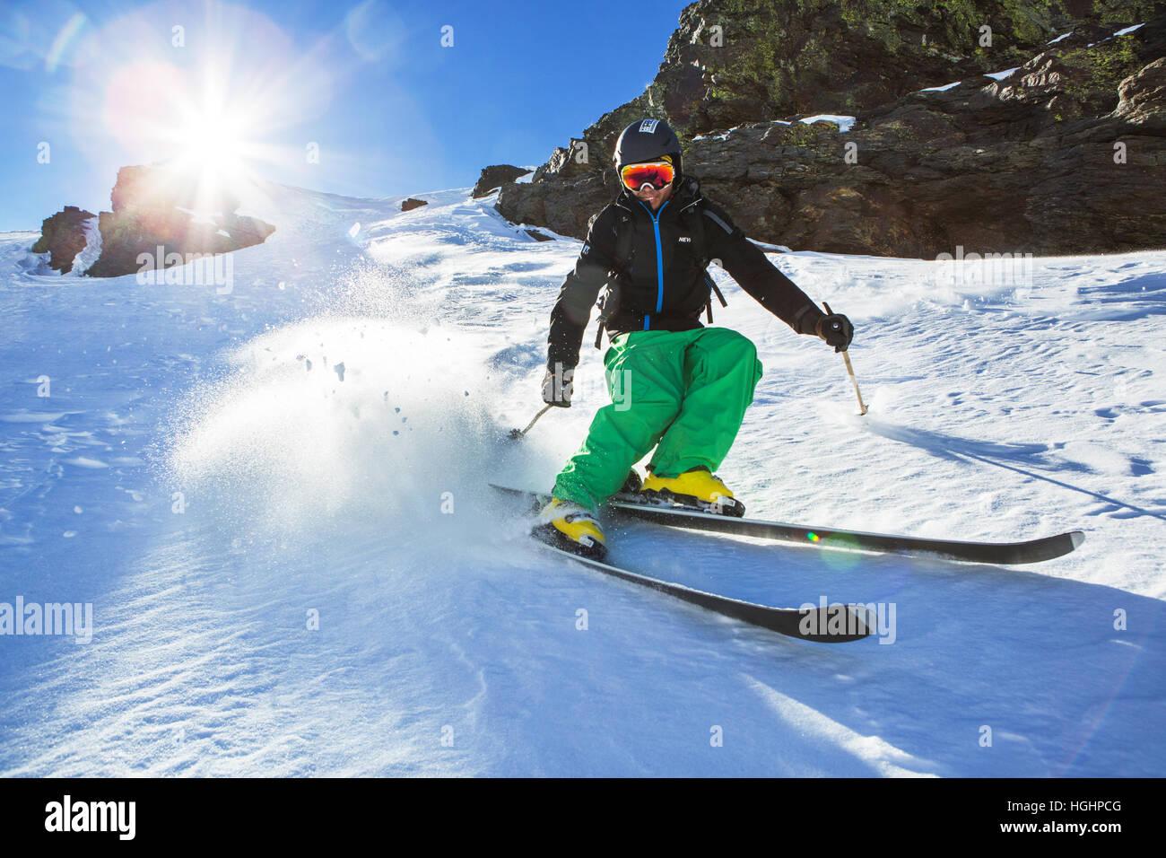 Granada, Spain. 30th of December, 2016. Kevin Blanc freeride skier goes near by the Veleta peak in the Sierra Nevada, - Stock Image