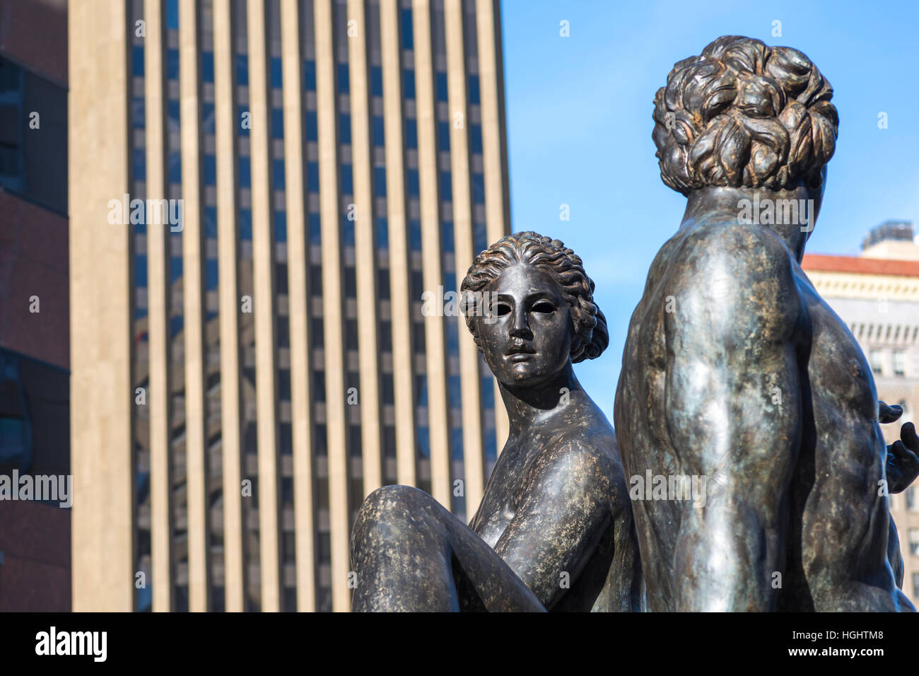 Fountain of Two Oceans sculpture and water fountain in downtown San Diego, California, USA. - Stock Image