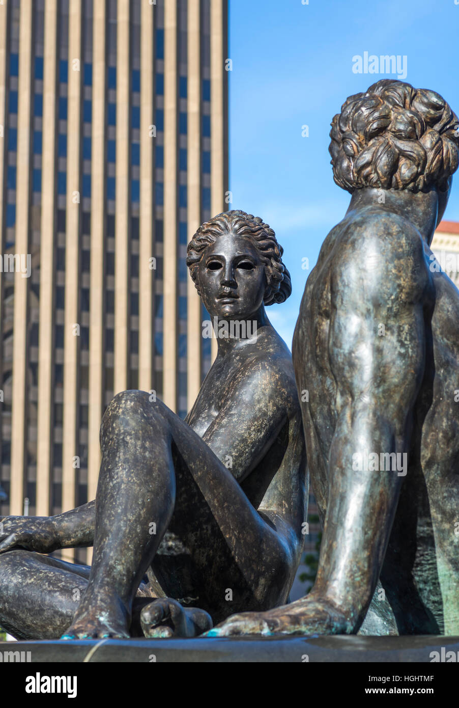 Fountain of Two Oceans sculpture in downtown San Diego, California, USA. - Stock Image