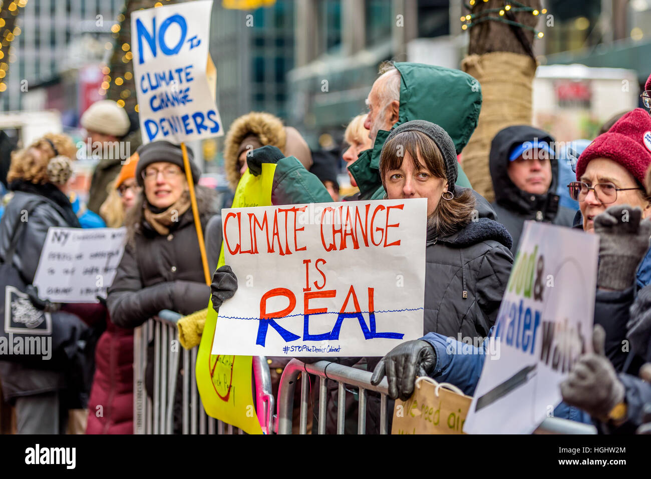New York, USA. 9th January, 2017. On Monday, January 9th, New York activist groups are joining a national day of Stock Photo