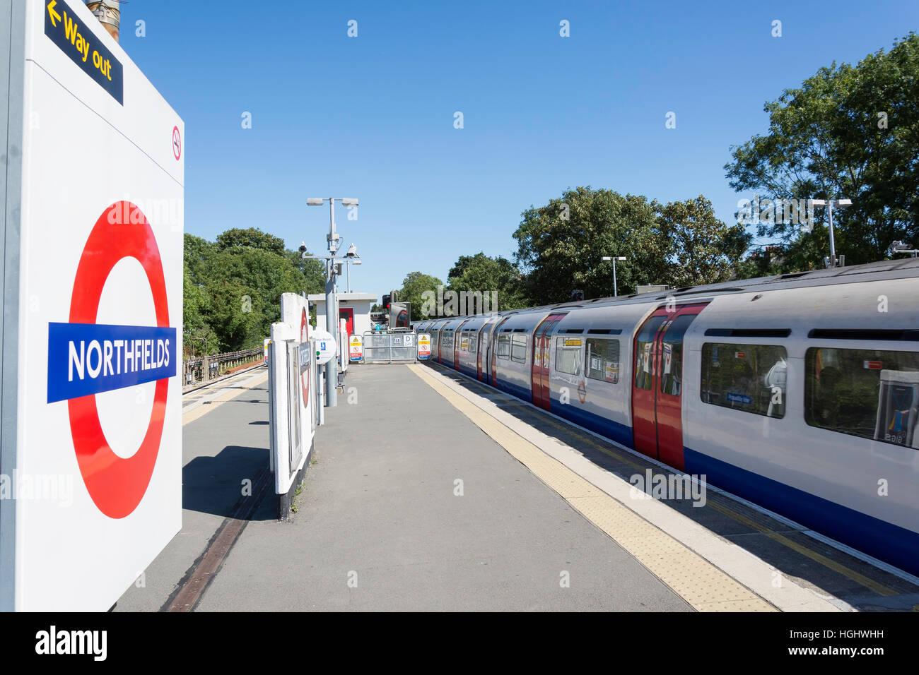 Northfields Underground Station, Northfields, London Borough of Ealing, Greater London, England, United Kingdom - Stock Image