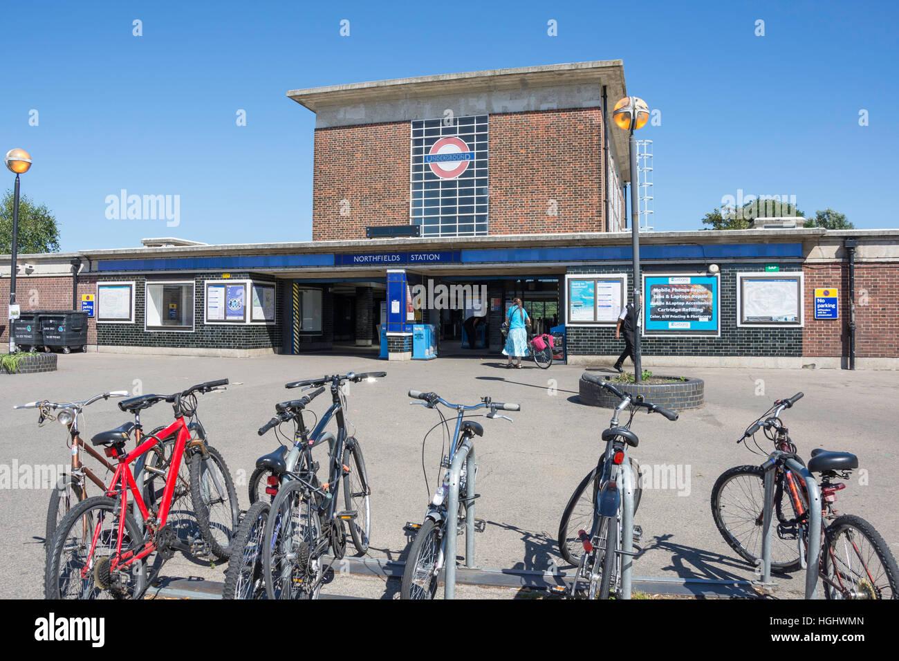 Entrance to Northfields Underground Station, Northfields, London Borough of Ealing, Greater London, England, United - Stock Image