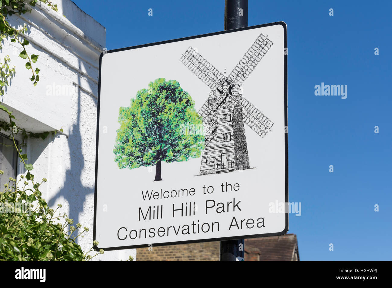 Mill Hill Conservation Area sign, Gunnersbury Lane, Acton, London Borough of Ealing, Greater London, England, United - Stock Image