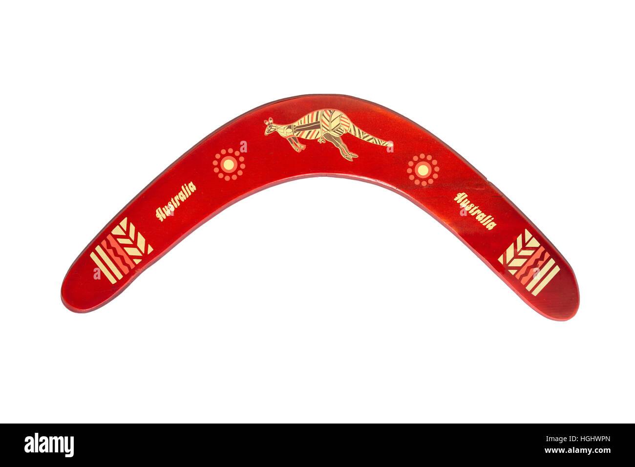 Souvenir boomerang at Koomurri Aboriginal Centre, Echo Point, Katoomba, Blue Mountains, New South Wales, Australia - Stock Image