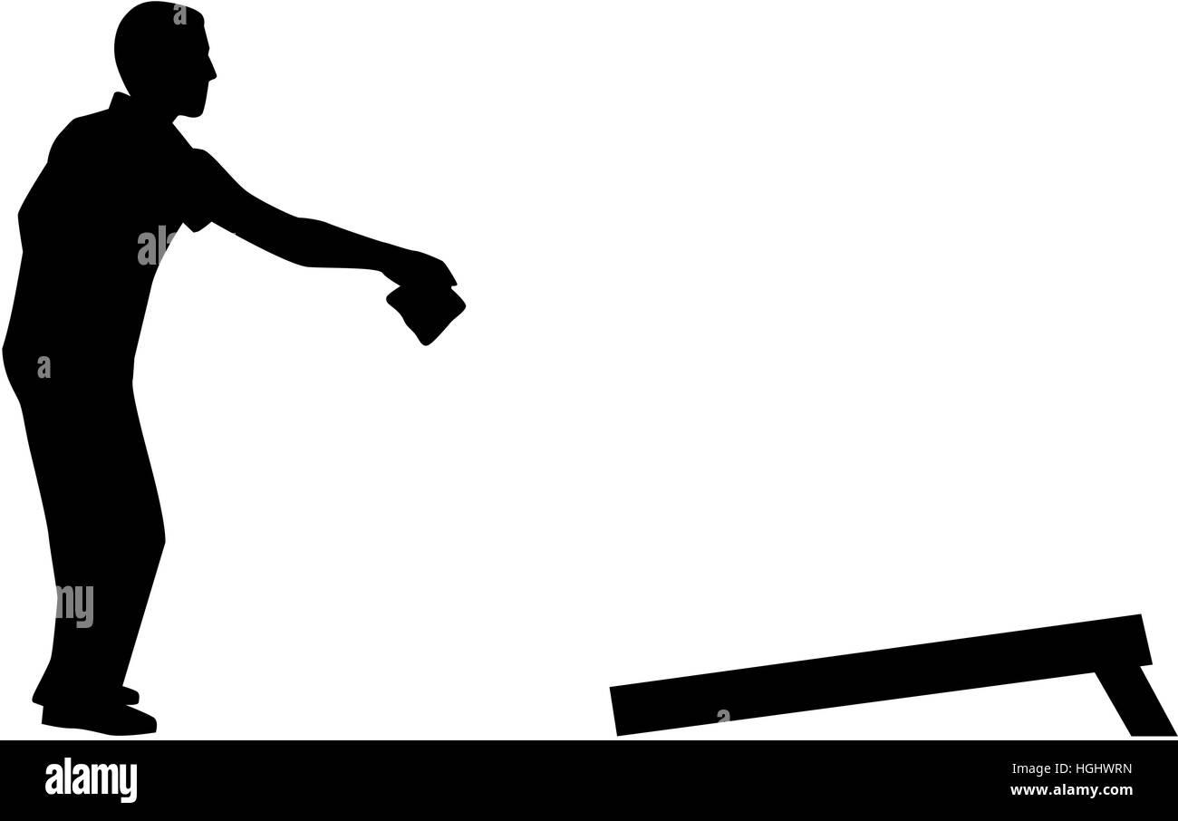 Cornhole player silhouette - Stock Image