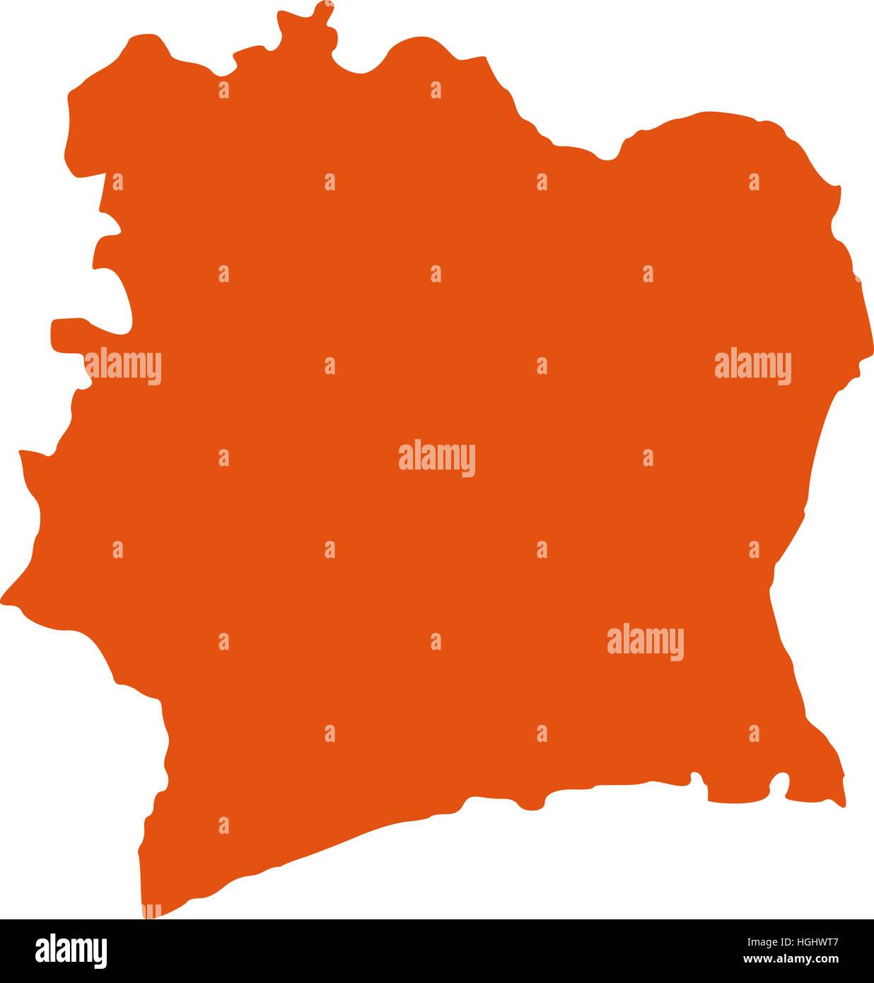 Ivory Coast map - Stock Image