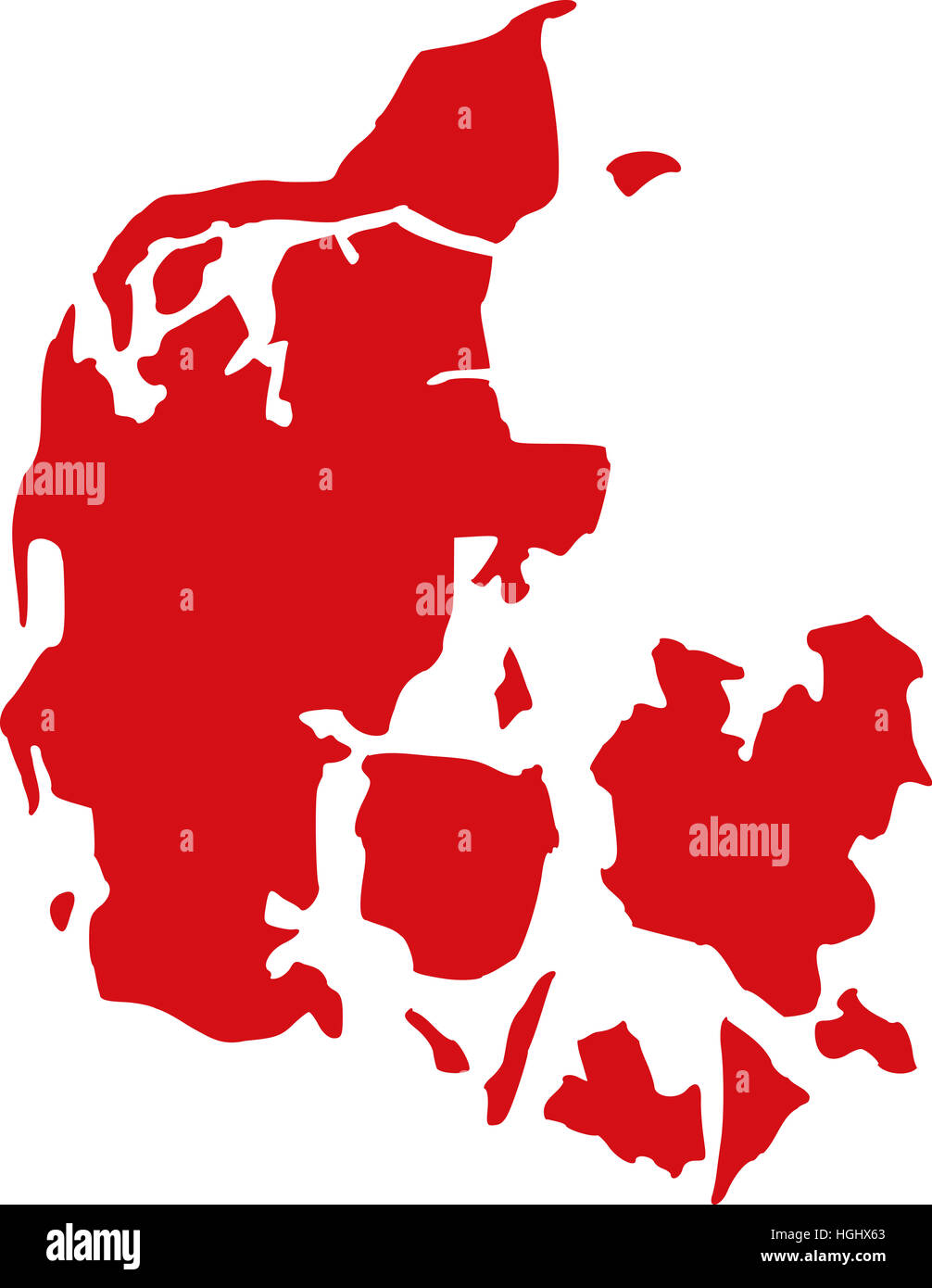 Denmark map - Stock Image