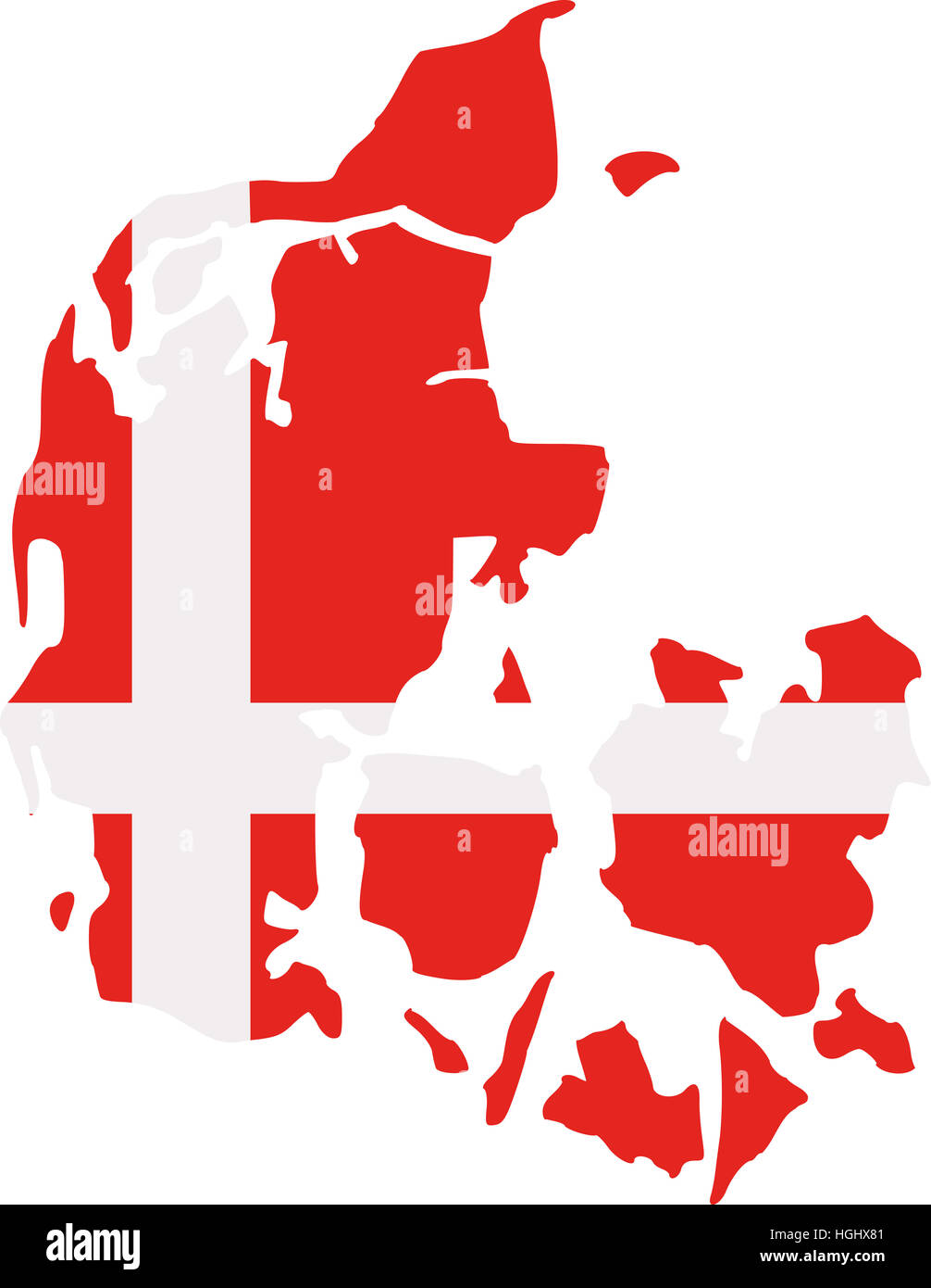 Denmark map with flag - Stock Image