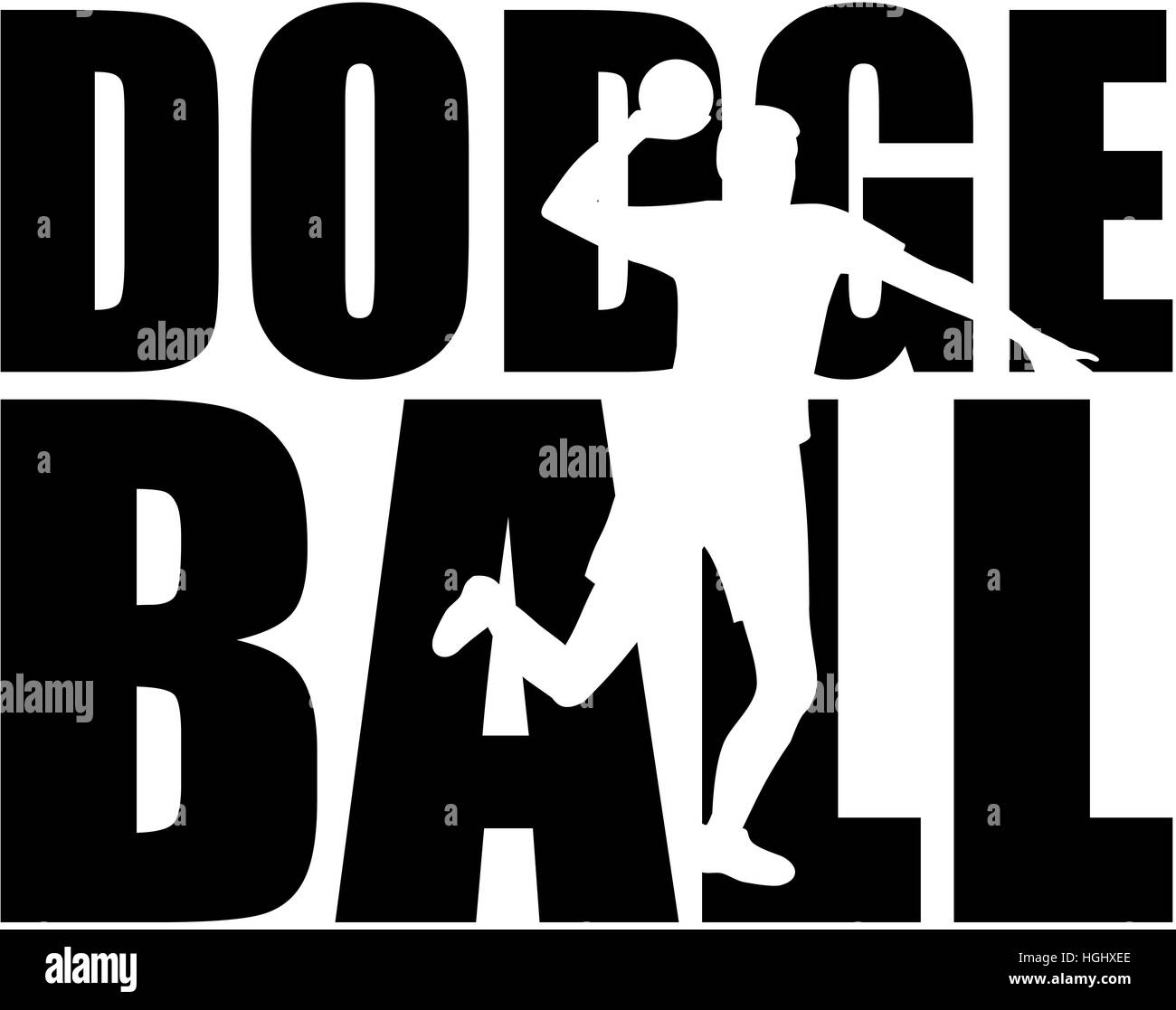 dodgeball word with player silhouette stock photo: 130701046 - alamy