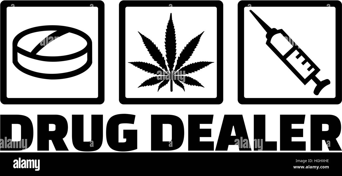 Drug dealer icons. Pill, marijuana and injection. - Stock Image