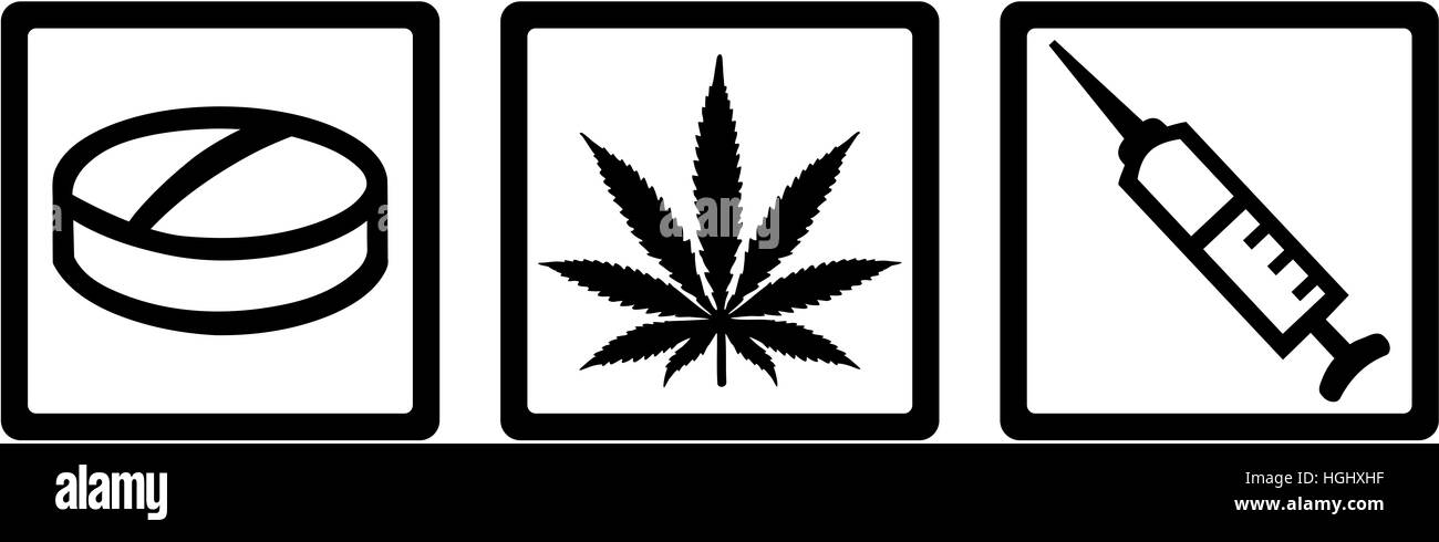Drug dealer icons with Pill, marijuana and injection. - Stock Image
