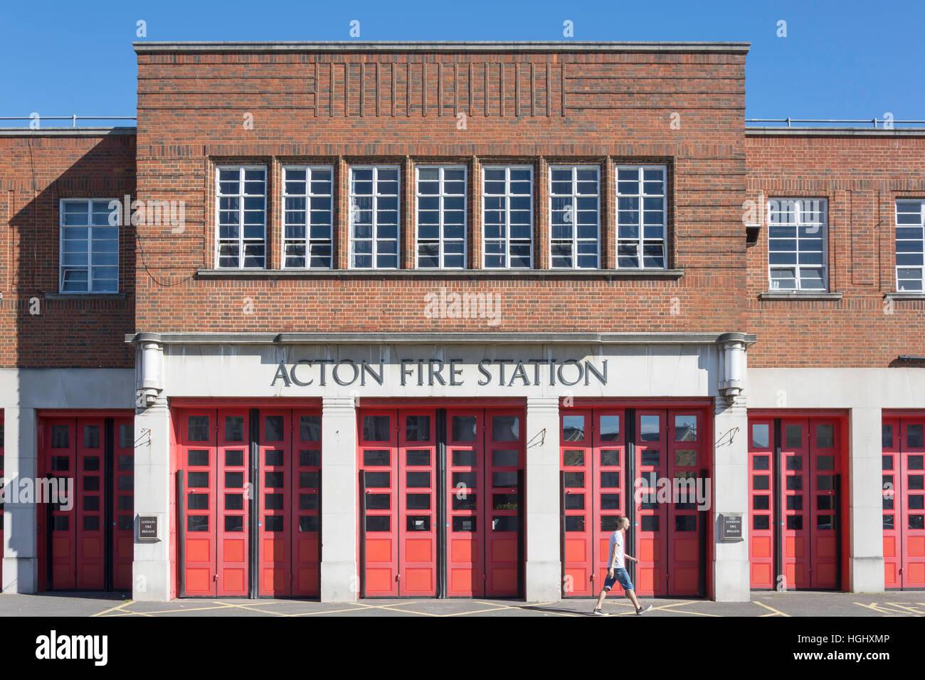 Art Deco Acton Fire Station, Gunnersbury Lane, Acton, London Borough of Ealing, Greater London, England, United - Stock Image