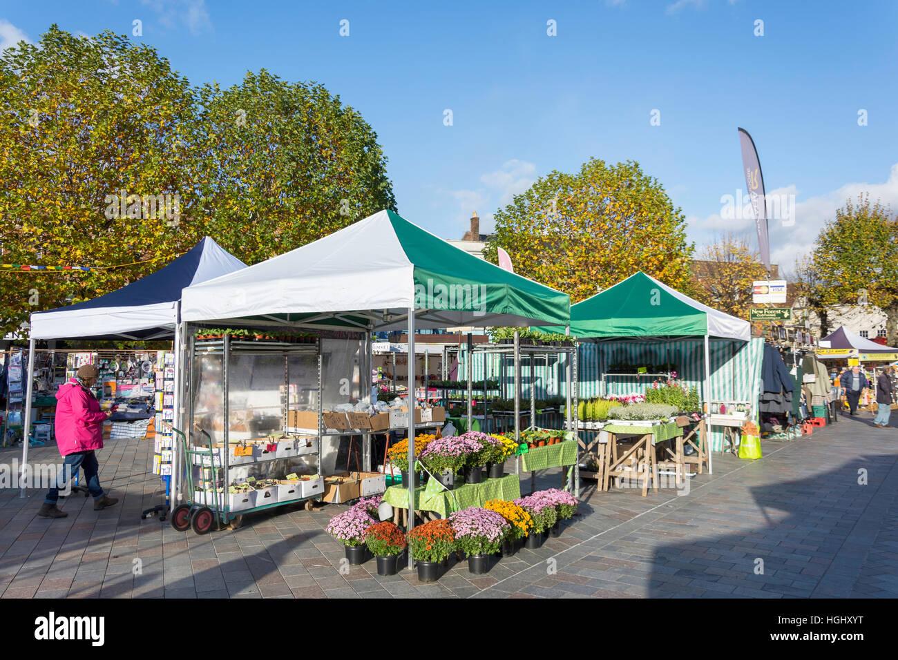 Flower and plant stalls, Salisbury Charter Market, Market Place, Salisbury, Wiltshire, England, United Kingdom - Stock Image
