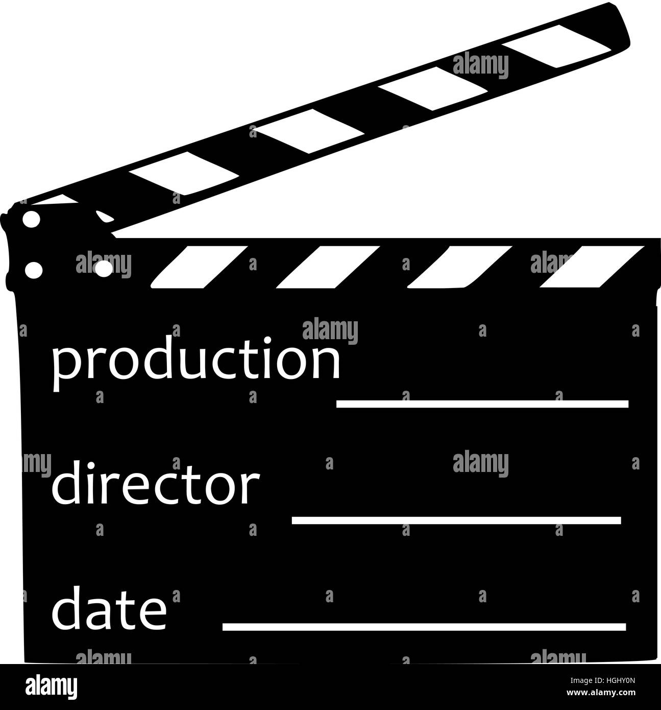 Clapperboard with production, director and date - Stock Image