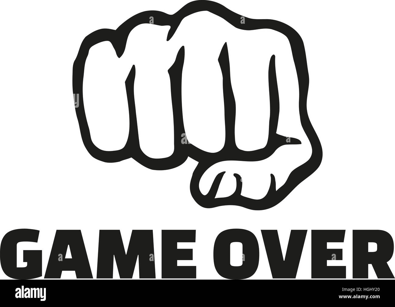 fist front with game over stock photo 130701480 alamy