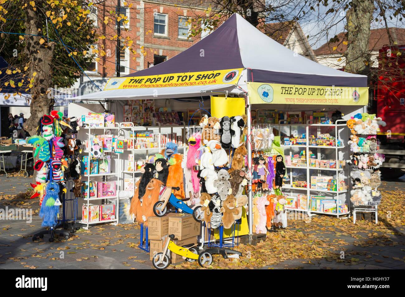 The Pop Up Toy Shop, Salisbury Charter Market, Market Place, Salisbury, Wiltshire, England, United Kingdom - Stock Image