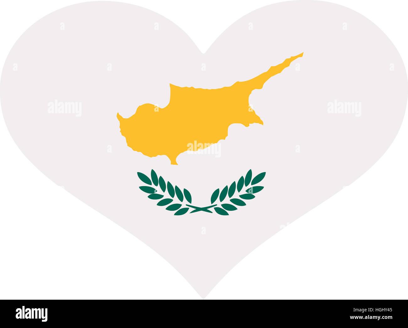 Cyprus flag heart - Stock Image