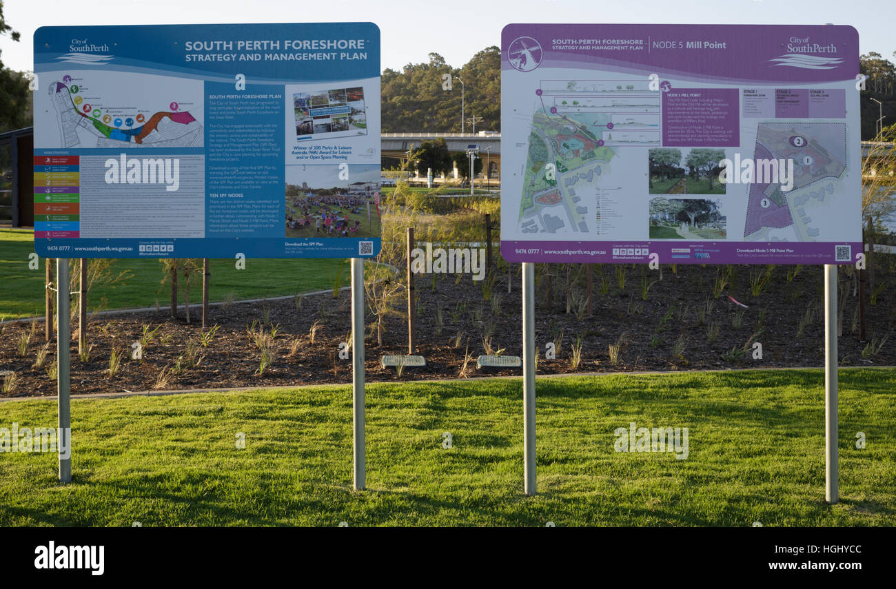 Information signs outlining the redevelopment plans for South Perth - Stock Image