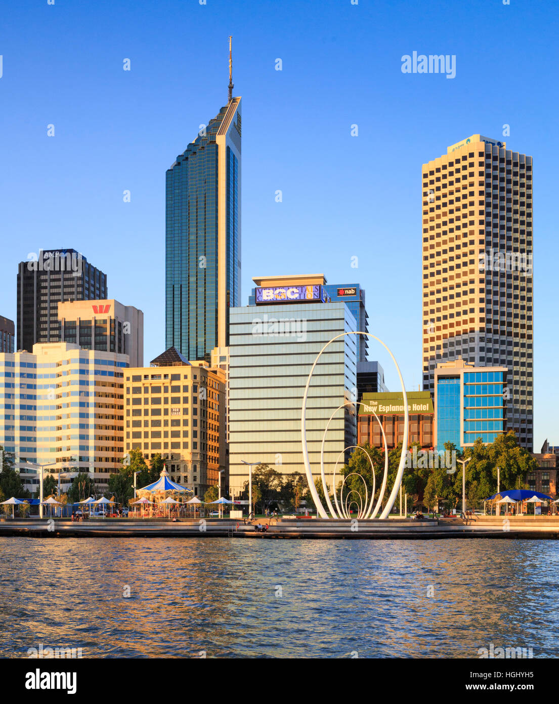Elizabeth Quay and Perth city. Australia - Stock Image