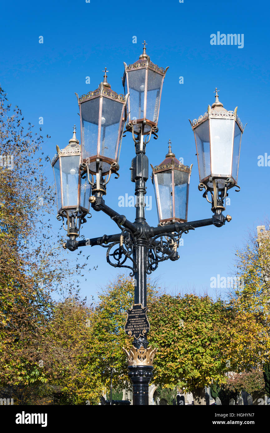 Queen Victoria Jubilee Street lamp, Market Place, Ringwood, Hampshire, England, United Kingdom - Stock Image