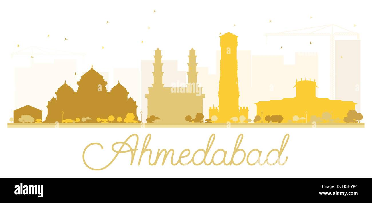 Ahmedabad City skyline golden silhouette. Vector illustration. Simple flat concept for tourism presentation, banner, - Stock Vector
