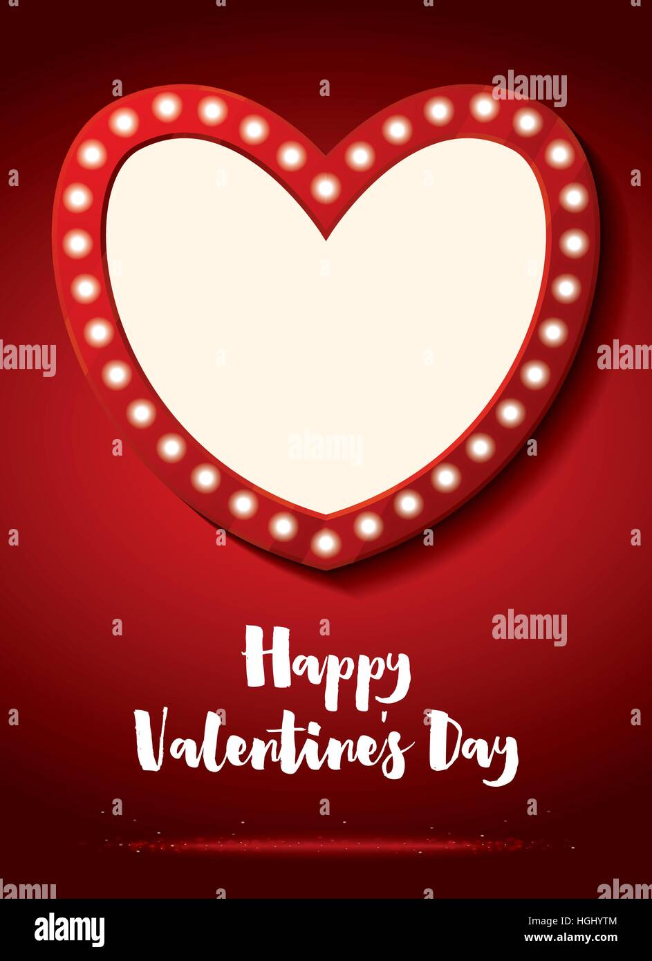 Happy Valentines Day Greeting Card Empty Heart Vector Stock