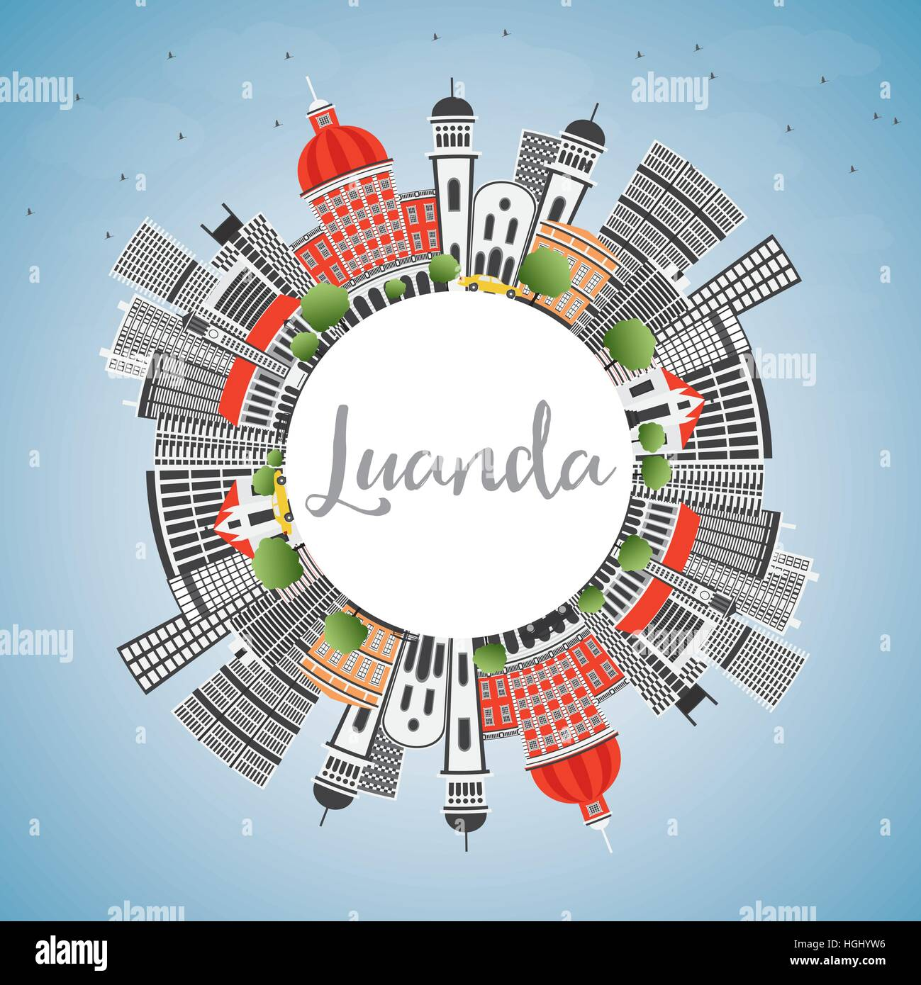 Luanda Skyline with Gray Buildings, Blue Sky and Copy Space. Vector Illustration. Business Travel and Tourism Concept - Stock Vector