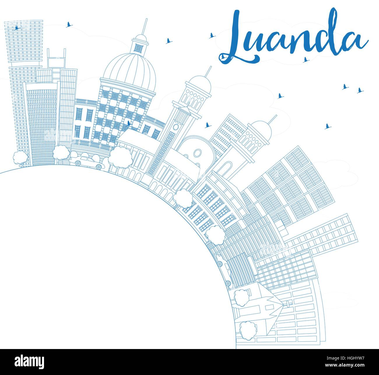 Outline Luanda Skyline with Blue Buildings and Copy Space. Vector Illustration. Business Travel and Tourism Concept - Stock Vector