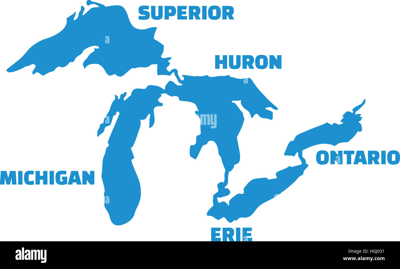 great lakes map with names Great Lakes Map High Resolution Stock Photography And Images Alamy great lakes map with names