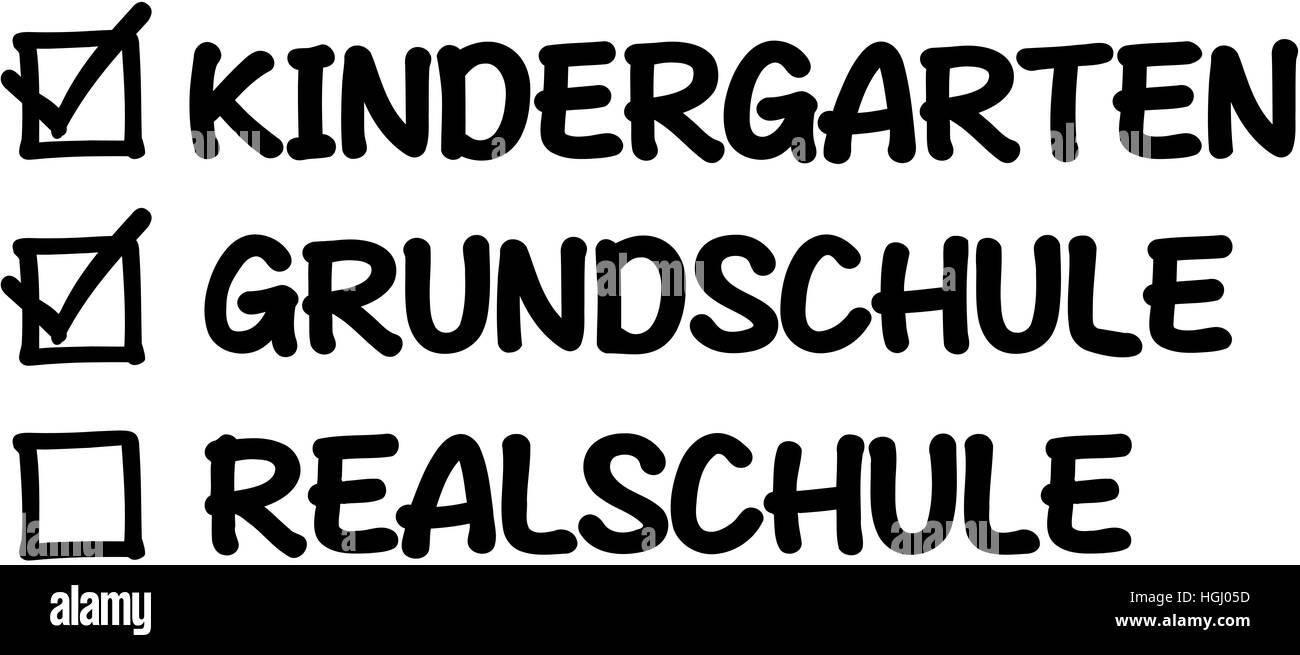 Start in secondary school. Checklist with kindergarten and elementary school. - Stock Image