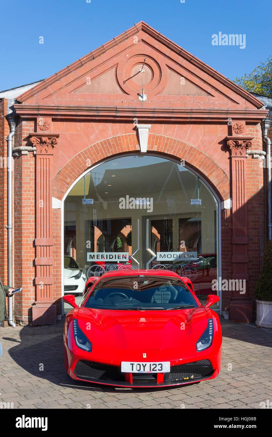 Ferrari 458 Italia at Meridien Modena Ferrari & Maserati Dealers, High Street, Lyndhurst, Hampshire, England, - Stock Image