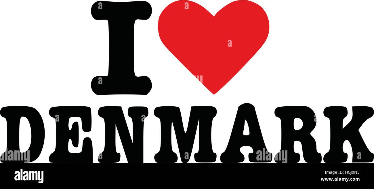 I love denmark - Stock Image