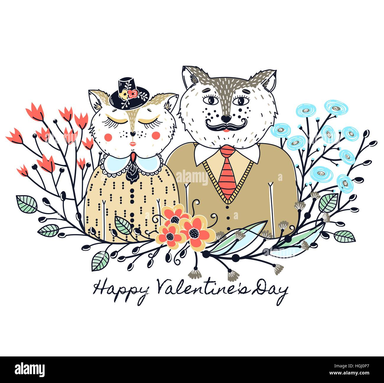 Enamoured cats greeting background on valentines day feast of greeting background on valentines day feast of love holiday floral border sketch of animals colorful card vector illustration m4hsunfo